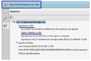 Screenshot showing electronic signature is valid.